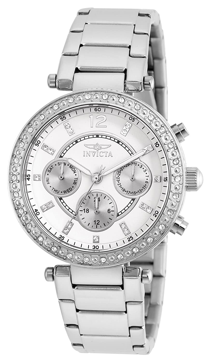 Amazon.com: Invicta Women's 21386 Angel Stainless Steel Crystal-Accented  Bracelet Watch: Invicta: Watches