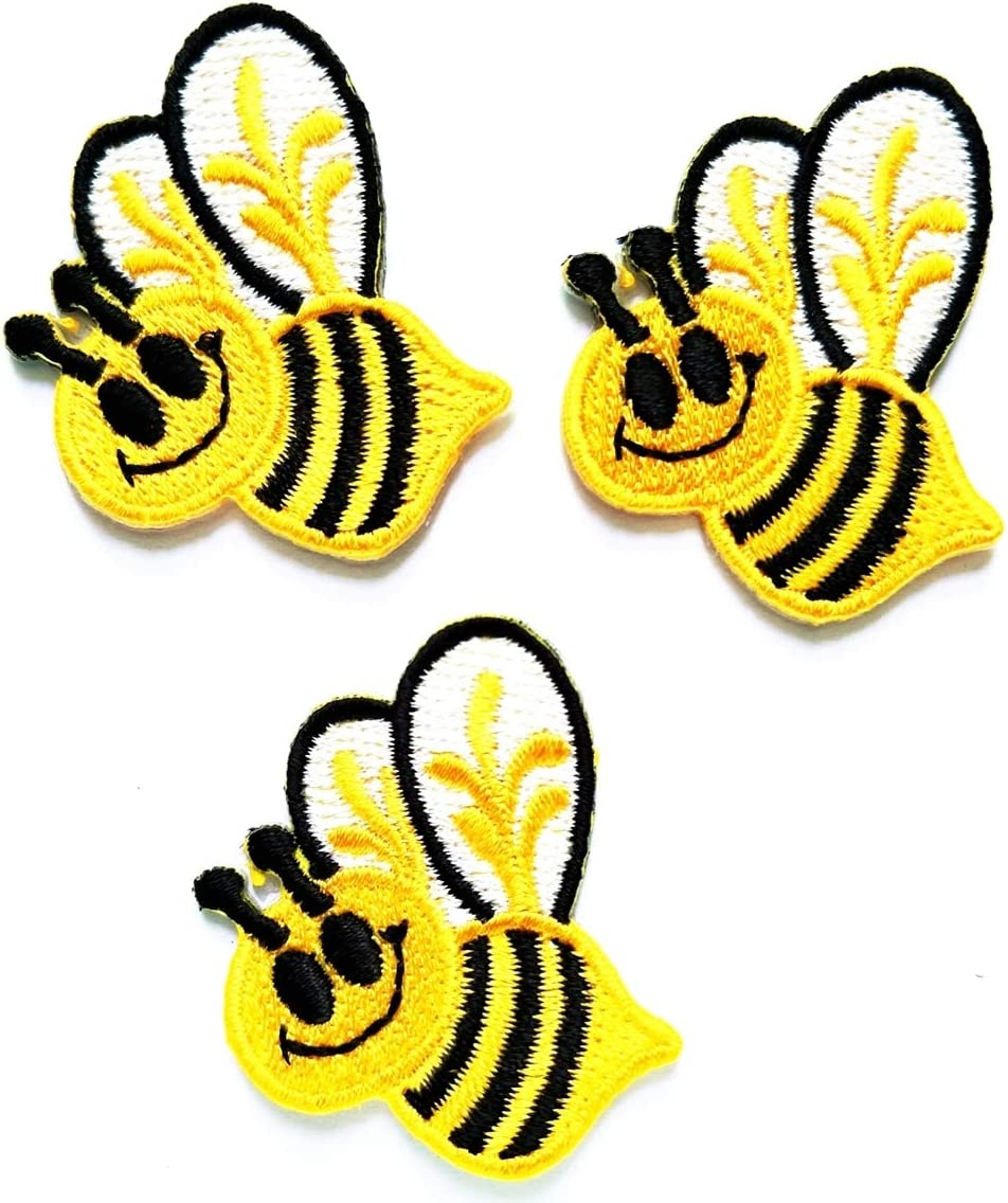 Nipitshop Patches Set Little Herd Bees Patch Honey Bee Insect Fly Garden Flower Ca Embroidered Appliques Patch Sew Iron on Badge Patch for Cloth Decoration Happy Birthday Gift (Bee2)