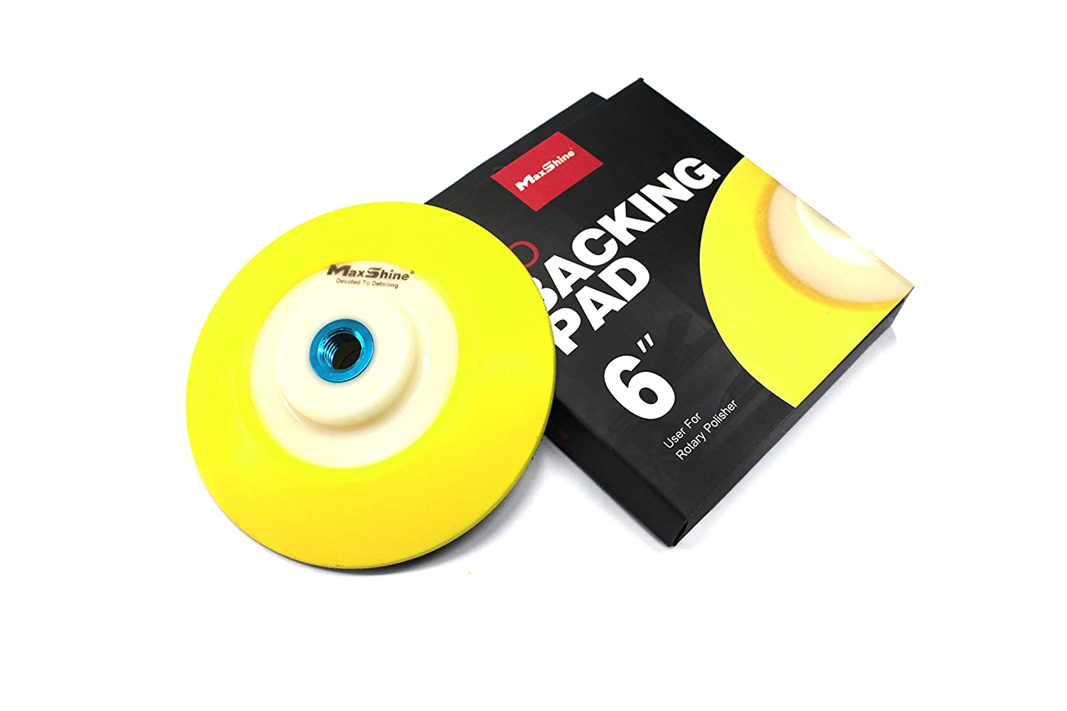 Maxshine 6 inches/Dia:150mm, Thread: 5/8' Rotary Polisher/RO Backing Pad-Yellow PU Hook & Loop Face Thread: 5/8 Rotary Polisher/RO Backing Pad-Yellow PU Hook & Loop Face