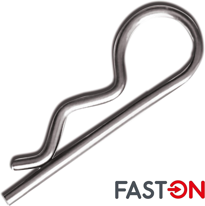 FASTON/® Federstecker einfach 2x49 mm Edelstahl A4 V4A Federsplinte Federvorstecker Sicherungsclips Stecker//Splint Vorstecker 1 St/ück