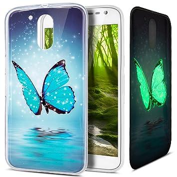 Funda Motorola Moto G4,Funda Motorola Moto G4 Plus,Patrón pintado colorido del arte Luminoso Flexible TPU Silicona Fundas Skin Cover Carcasa Funda ...