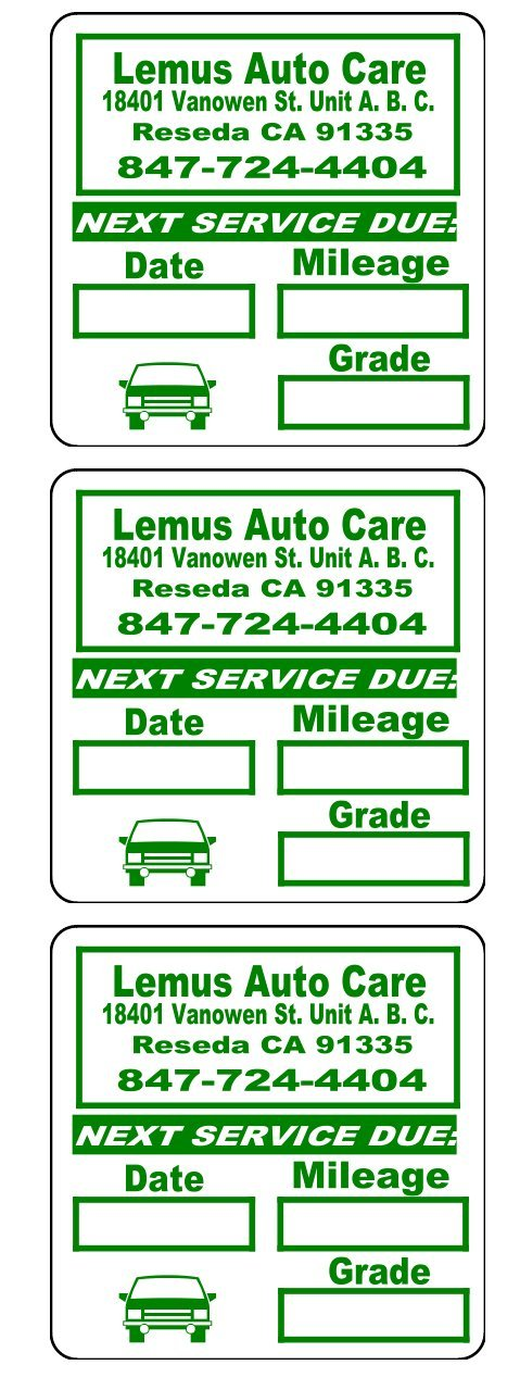 5000 Custom 2x2 Green, Black, Blue, Red Oil Change Labels / Stickers ''Featuring Easy Do It Yourself Design'' Premium Coated Paper Stock