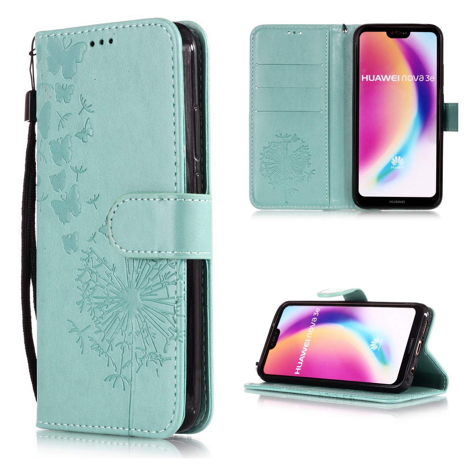 Shinyzone Shockproof Protective Phone Case for Huawei P20 Lite,Embossed Butterfly Dandelion Pattern Series,Functional Magnetic Stand Cover with Card Slots Leather Wallet Flip Case-Rose Gold