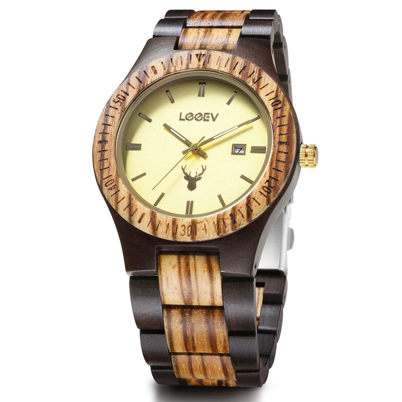 Wood Watch Uwood Black Zebra Sandal Wooden Quartz Watch Retro Style Unisex Wristwatch