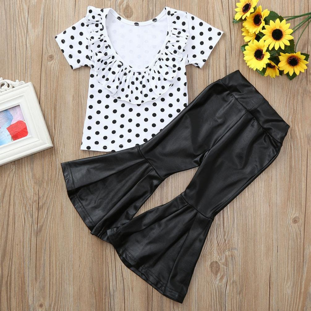 Long Flare Pants Ruffled Short-Sleeve Outfit Clothes Set Baby Kids Girl Off-Shoulder Seashell T-Shirt Top