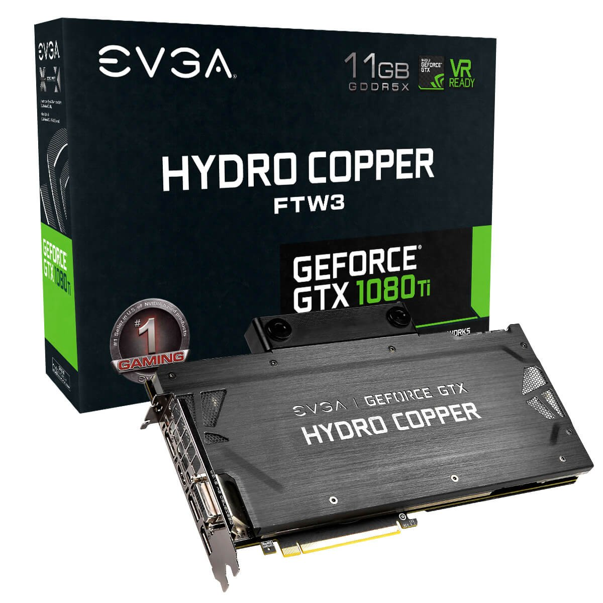 EVGA GeForce GTX 1080 Ti FTW3 Hydro Copper GAMING, 11GB GDDR5X, Hydro Copper Waterblock & RGB LED, iCX Technology - 9 Thermal Sensors 11G-P4-6699-KR