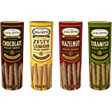 Dolcetto Premium Cream Filled Rolled Wafers Gourmet Cookies 4 Flavor Variety Bundle, (1)