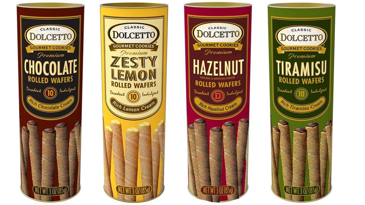 Dolcetto Premium Cream Filled Rolled Wafers Gourmet Cookies 4 Flavor Variety Bundle, (1) each: Chocolate, Zesty Lemon, Hazelnut, Tiramisu (3 Ounces)
