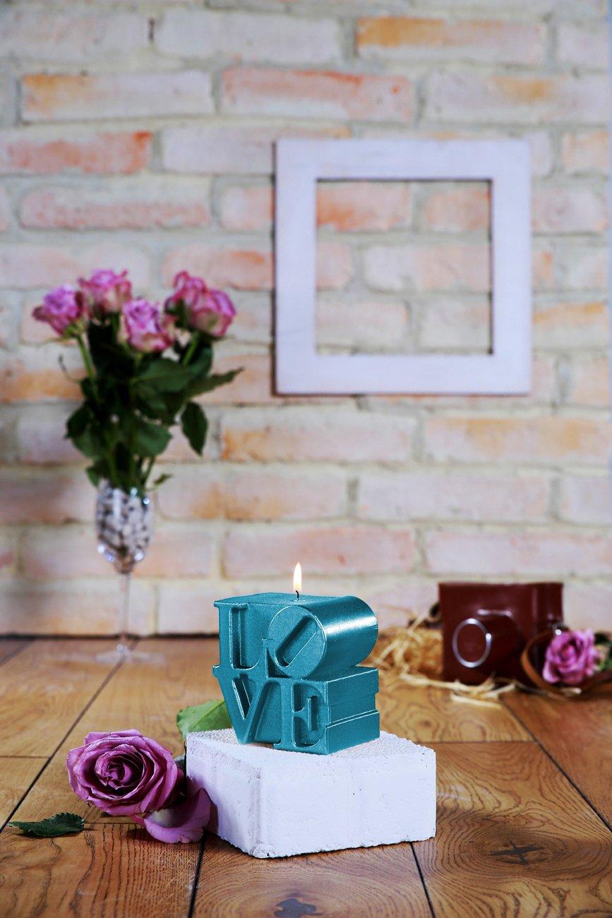 Candellana Candles Candellana Love Sign Candle-Blue Metallic