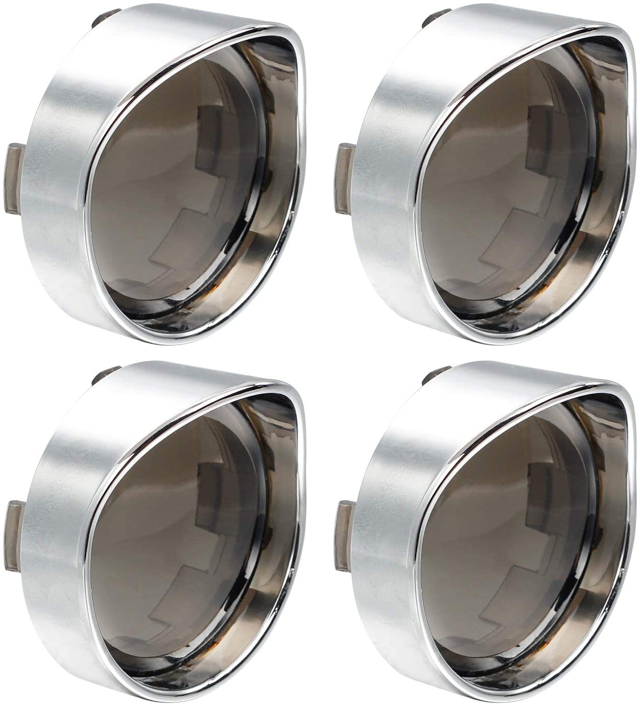 NTHREEAUTO Turn Signal Lens Cover with Chrome Visor Compatible with Harley Dyna Fatboy Softail Road Glide