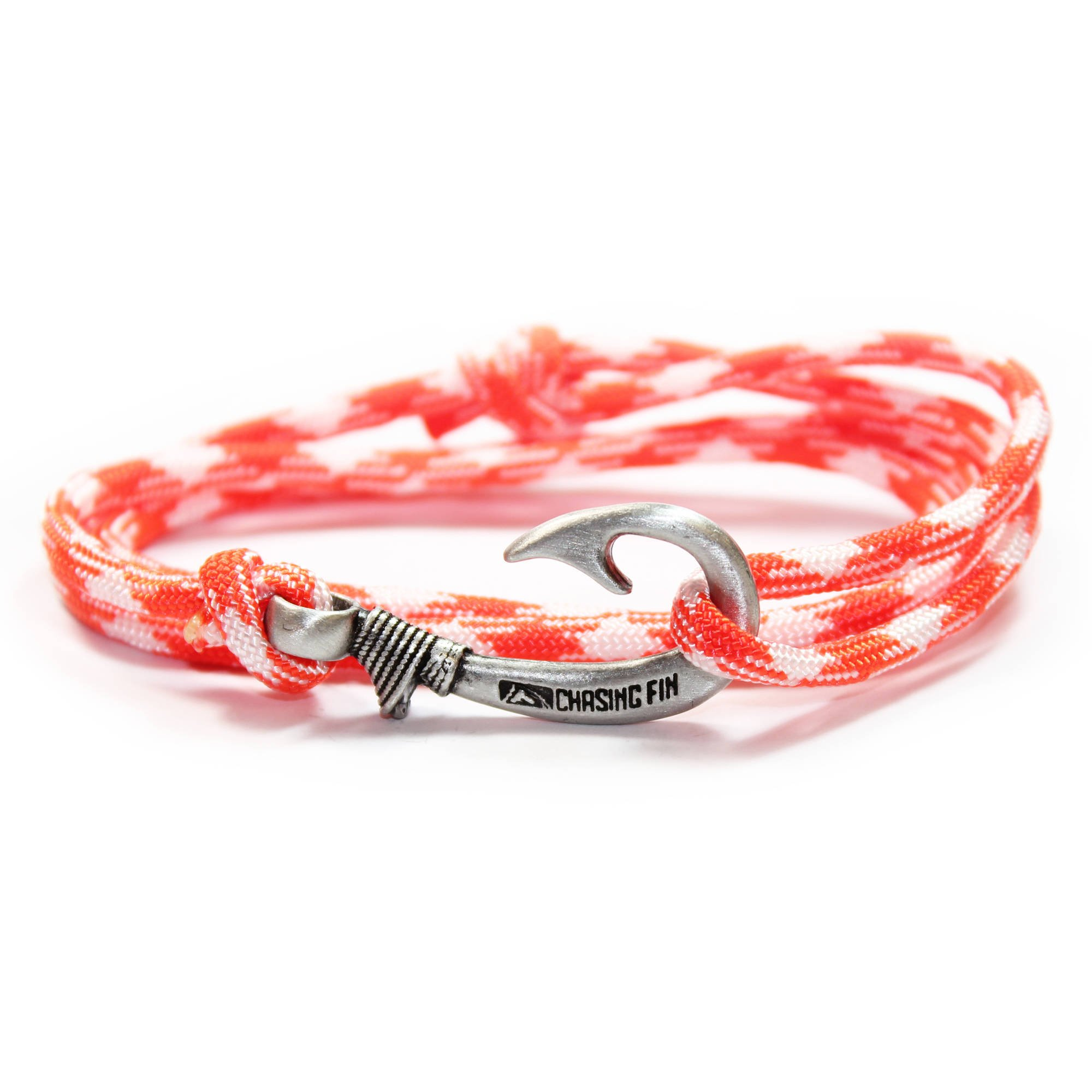 Chasing Fin Adjustable Bracelet 550 Military Paracord with Fish Hook Pendant, Creamsicle