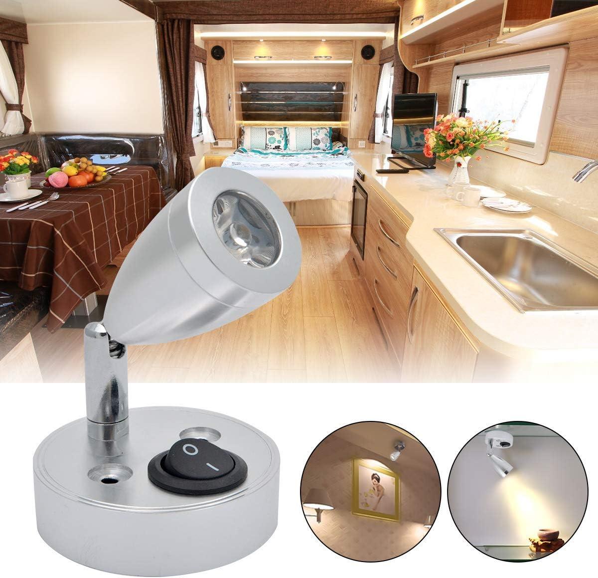 LED Spot Reading Light Switch Camper Van Caravan For Boat Motorhome Light 2X 12V
