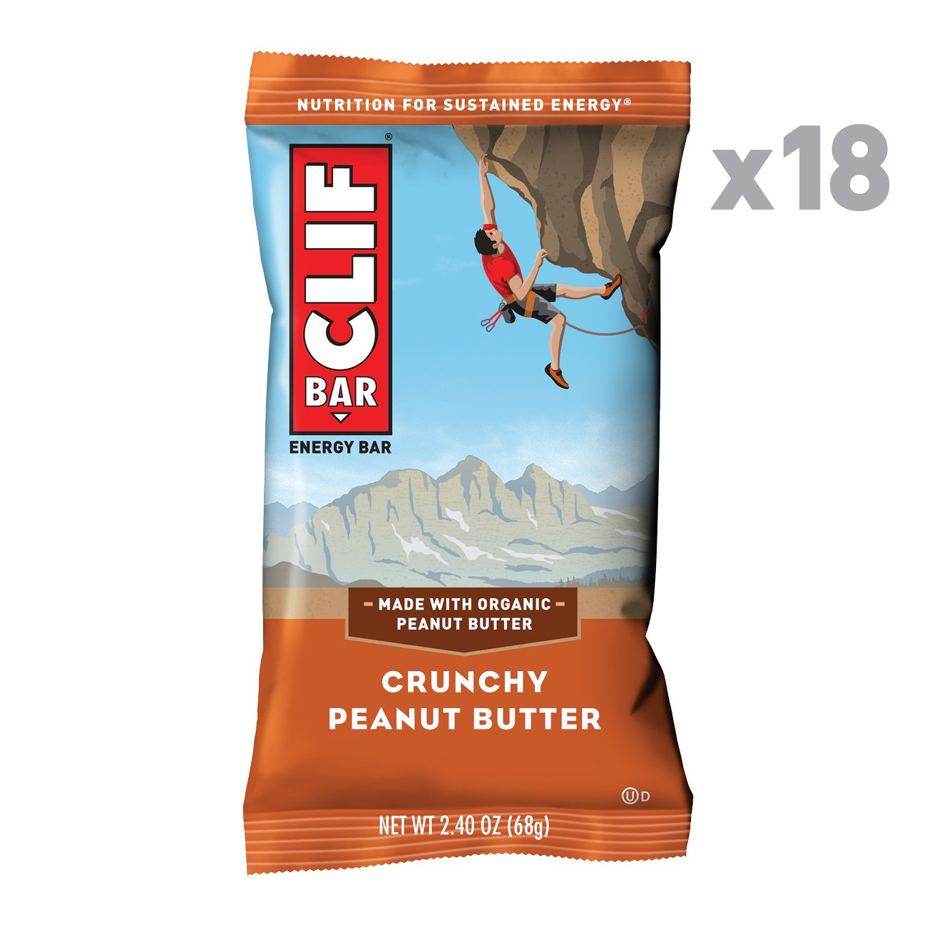 CLIF BAR Energy Bars, Crunchy Peanut Butter, 18 Count by Clif Bar