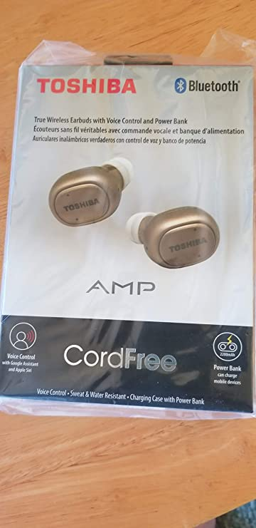 Amazon.com: Toshiba RZE-BT900E BT Wireless Earbuds Gold Cord Free Charging Case with Power Bank: Home Audio & Theater