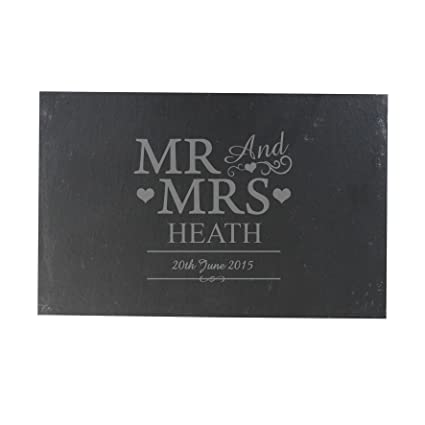 Tabla de quesos de pizarra Personalizable con texto Mr & Mrs ...