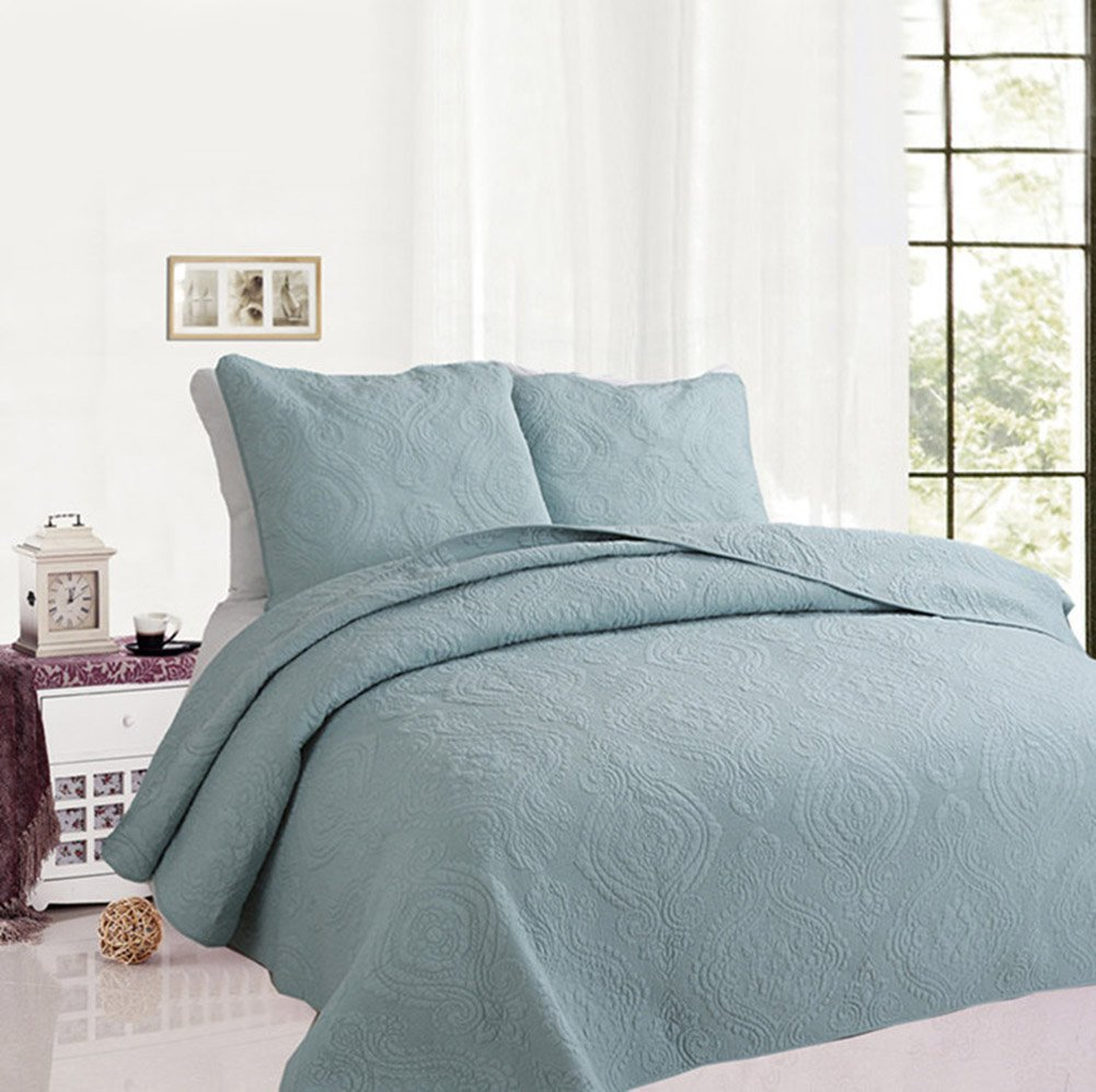 Solid color 3-Piece Quilt Set 100%Cotton, Bedspread Set, Finely Stitched, Coverlet Bed-cover, Washable Durable (King, Blue)