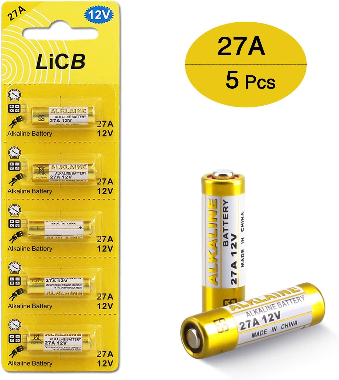 Cotchear 5Pcs 12V 27A Alkaline Battery 27A 12 Volt Batteries 27A 12V 21//23 E23A Alkaline Batteries