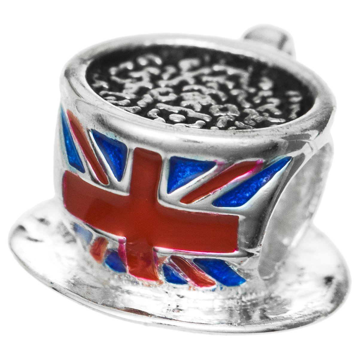 925 Sterling Silver UK British Flag Drink Cup Earl Tea Coffee Britain Enamel Bead For European Charm Bracelet Dreambell PB0668BX1