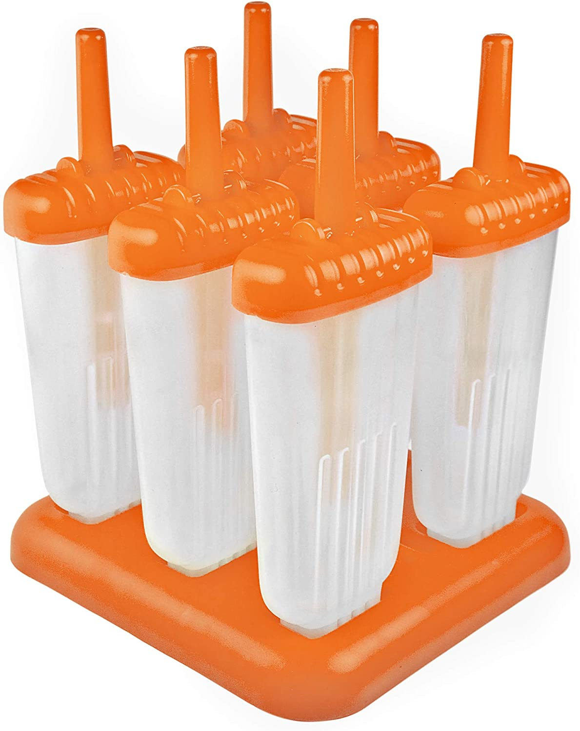 Tovolo Groovy, Drip-Guard Handle 4 Ounce, Set of 6 Ice Pop Molds, Popsicle Makers with Reusable Sticks, Mess-Free Frozen Treats, Orange Peel