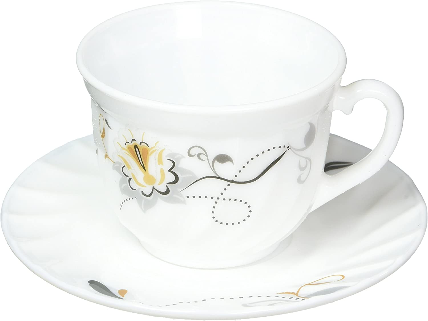 BA200-190  Uniware High Quality  Opal Glassware Cups and Saucer,Set of 12 Pcs