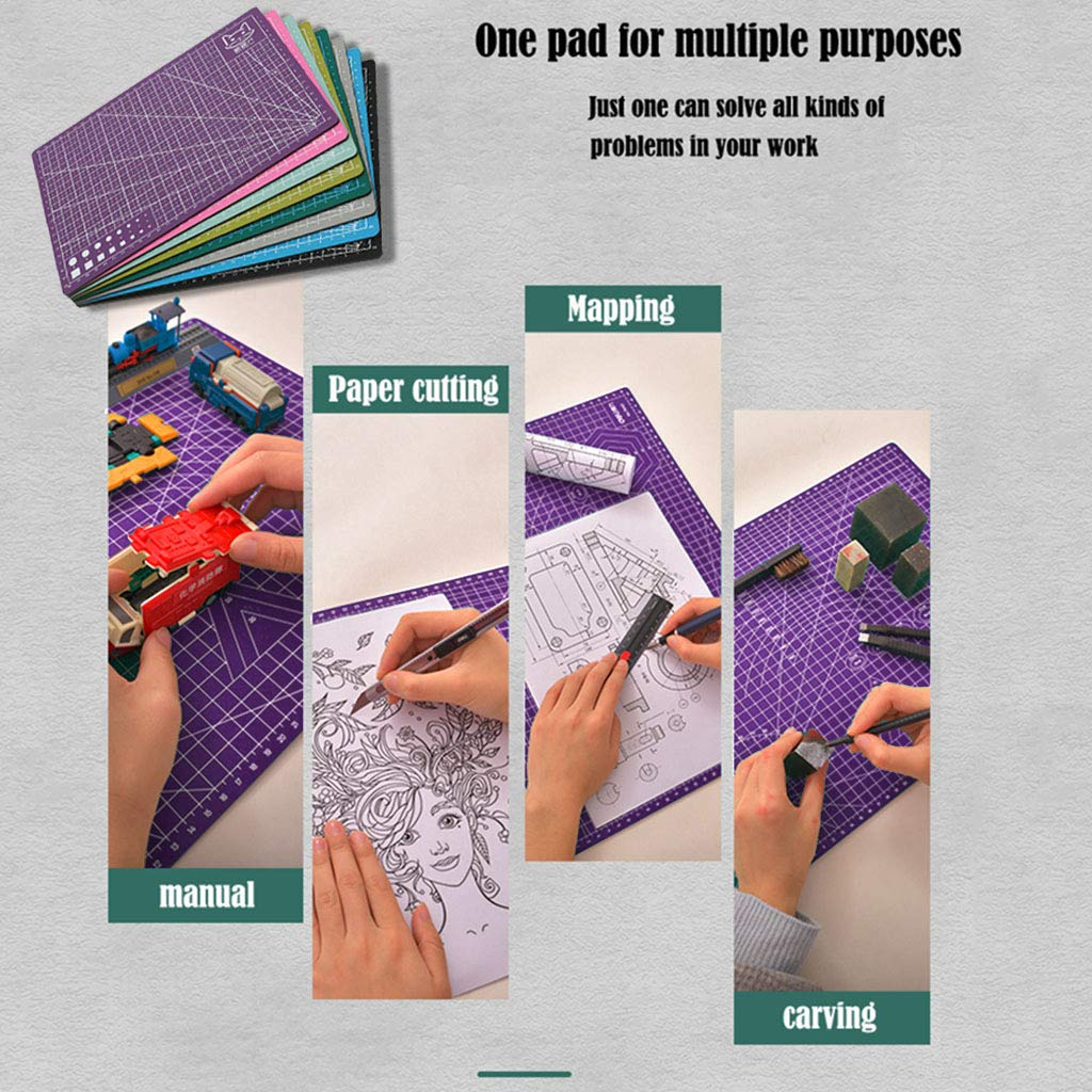 Cutting Mat A4, Self Healing Cutting Mat for Sewing, Writing, Craft Paper Carving, Double Sided Craft Mat12X 9 Inches(Purple)