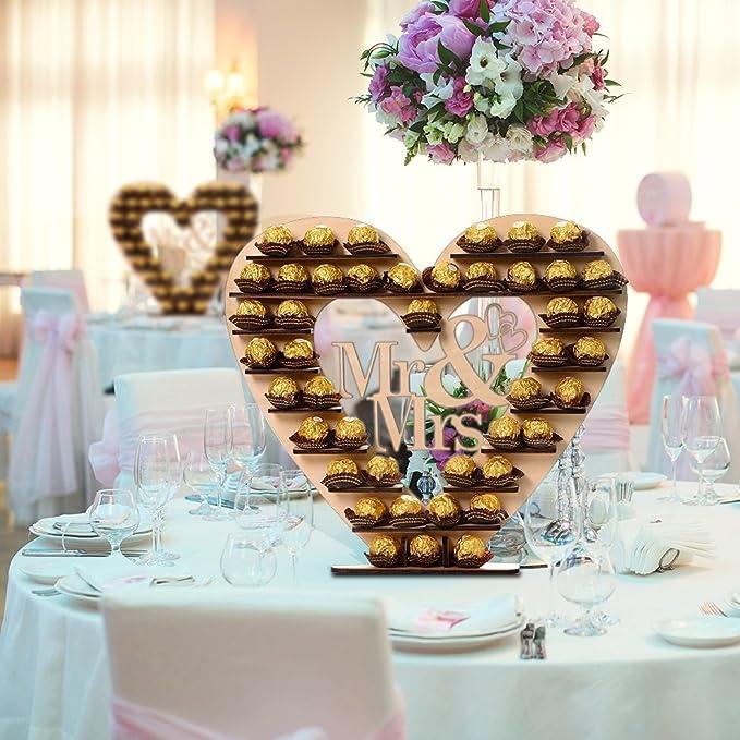 Decdeal Madera Mr & Mrs corazón árbol boda chocolate pantalla soporte centro pieza: Amazon.es: Hogar