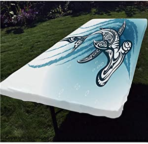Shark Polyester Fitted Tablecloth,Hammerhead Fish with Ornamental Ethnic Effects Swimming Ocean Image Rectangular Elastic Edge Fitted Table Cover,Fits Rectangular Tables 60x30 Dark and Petrol Blue Wh