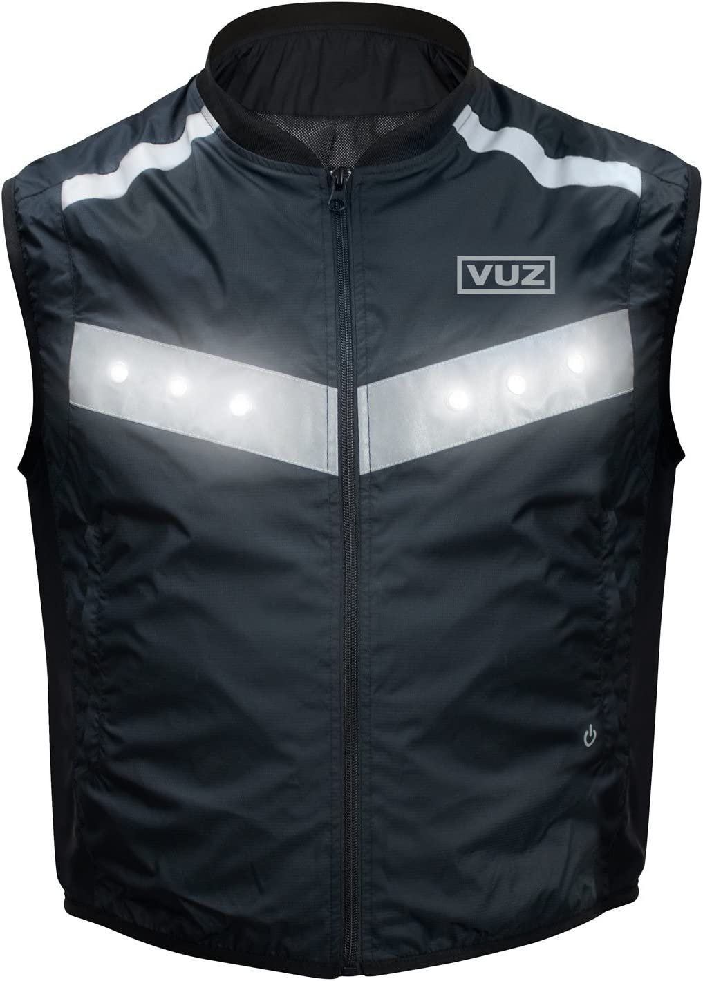 L Cycling Waterproof Biking Fits Over Jacket VUZ Moto LED Reflective Safety Motorcycle Vest with Rechargeable 8 Hour Battery Perfect for Running