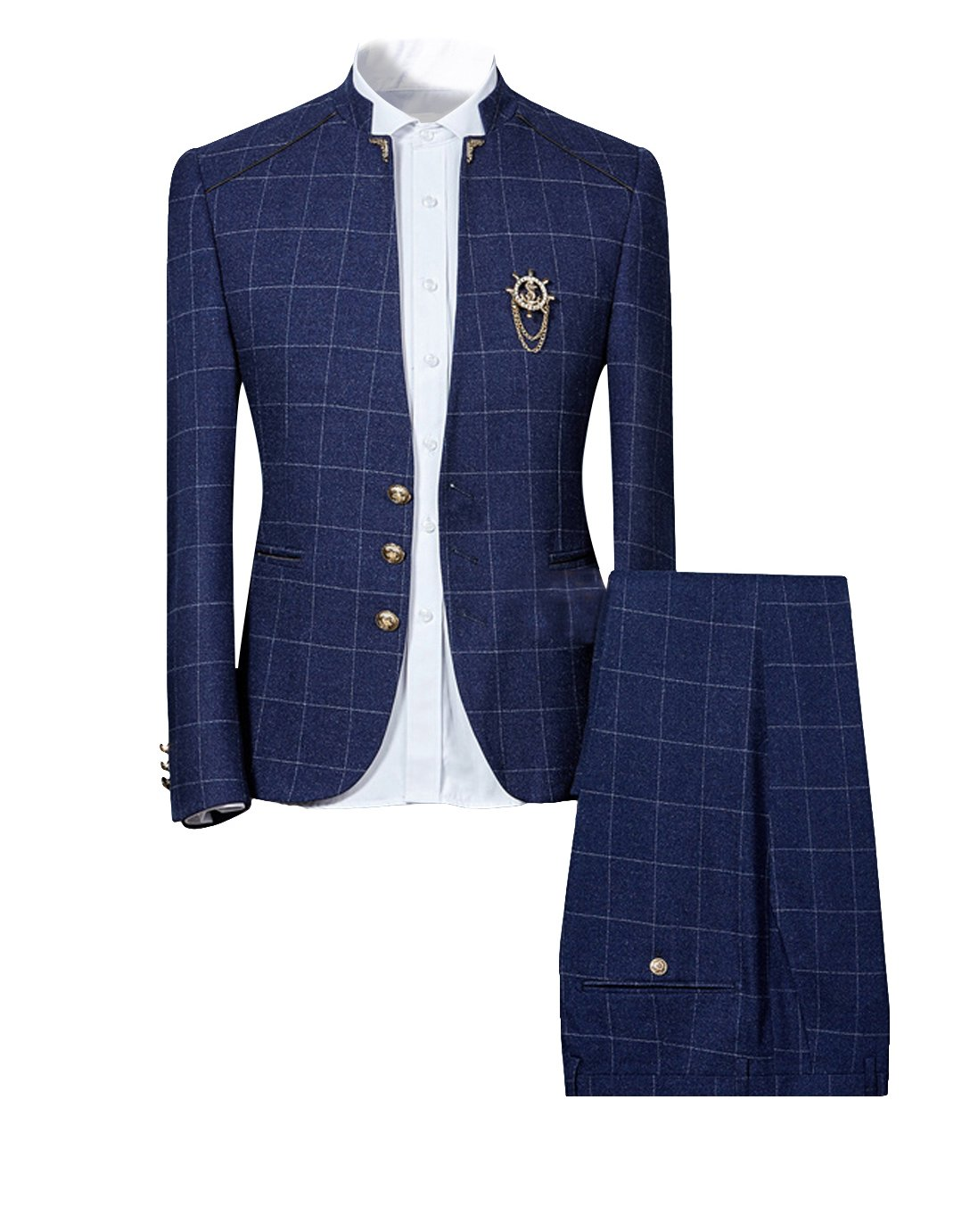 Cloudstyle Mens Unique Slim Fit Checked Suits 2 Piece Vintage Jacket and Trousers,Navy,Large