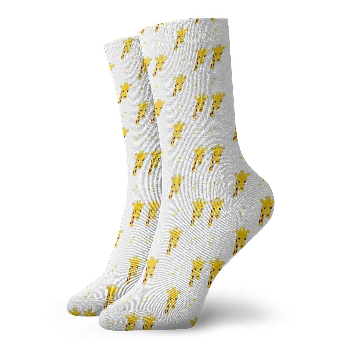 Unisex High Ankle Cushion Crew Socks Giraffe Cartoon Pattern Casual Sport Socks