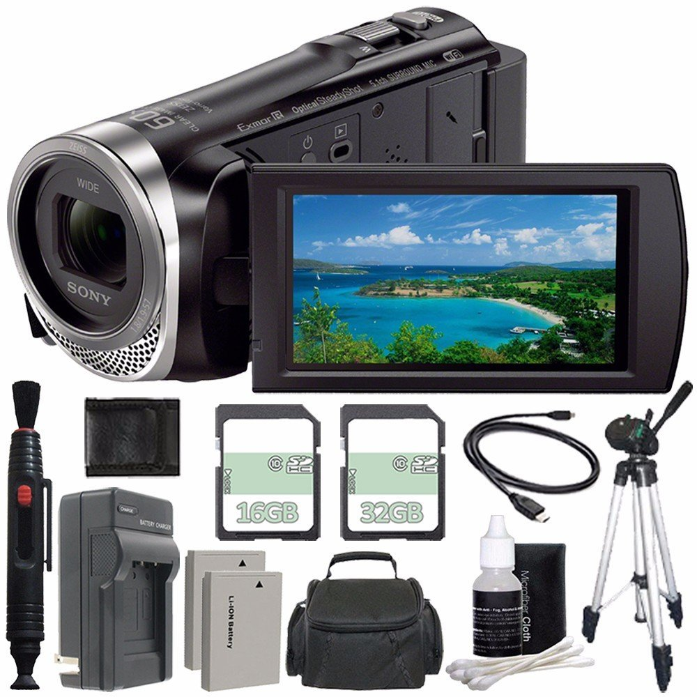 Sony HDR-CX455 Full HD Handycam Camcorder with 8GB Internal Memory + Extra Battery + Charger + 16GB + 32GB + Tripod + Lens Cleaning Pen Bundle 9 by Sony