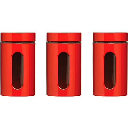 Premier Housewares Set of 3 Red Storage Canisters