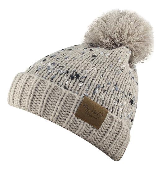 369623da9 MINAKOLIFE Women's Eyelash Pom Pom Beanie - Thick Soft Warm Winter ...