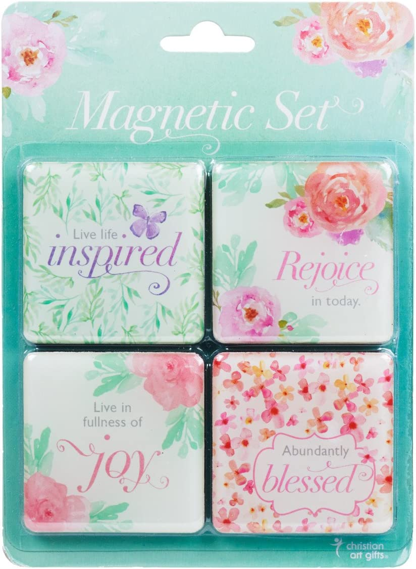 Christian Art Gifts Pink Floral Refrigerator Magnets | Blessed Joy Live Life Inspired | Inspirational Fridge Magnet Set/4-2""