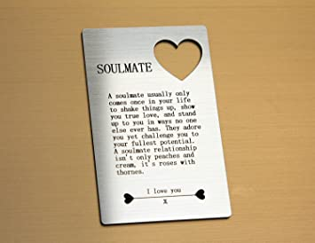 SoulMate Quote Wallet Card Insert Valentines Love Gift For