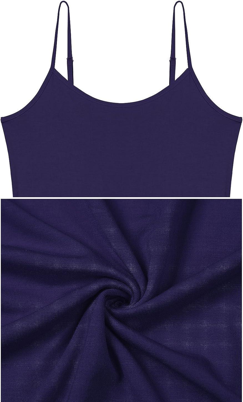 Vislivin Womens Basic Solid Camisole Adjustable Spaghetti Strap Tank Top Black//Gray//White//Dark Blue XL