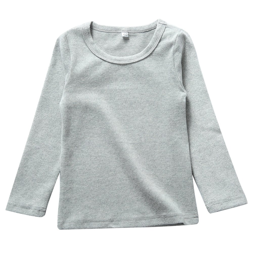 KISBINI Unisex Toddler Girls Long Sleeve Cotton Tees Kids T-Shirt Light Grey 2T