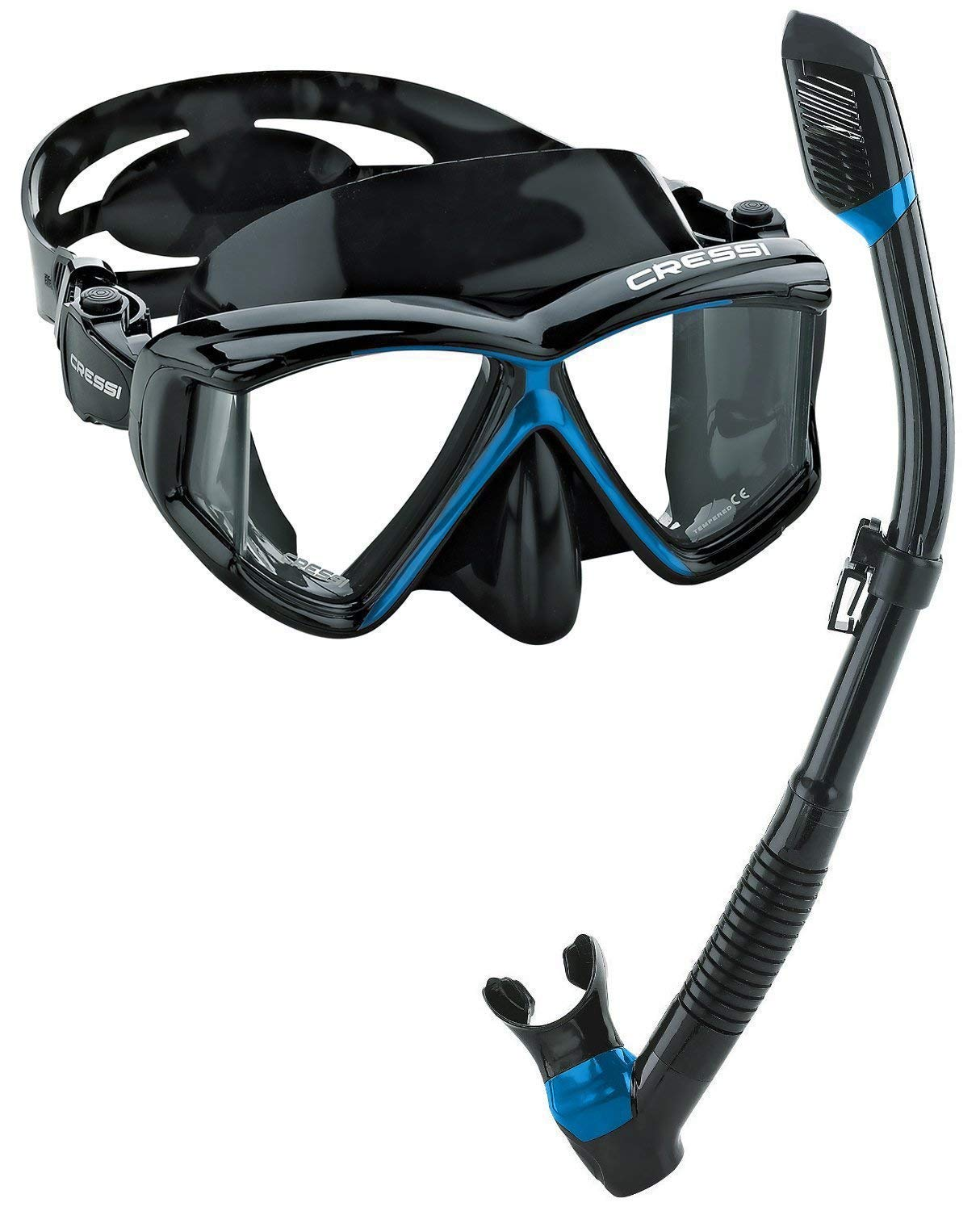 Cressi Italian Designed Liberty Quattro Metallic Panoramic View Tempered Glass Lens Premium Scuba Snorkeling Dive Mask Dry Snorkel Set (Black/Blue)