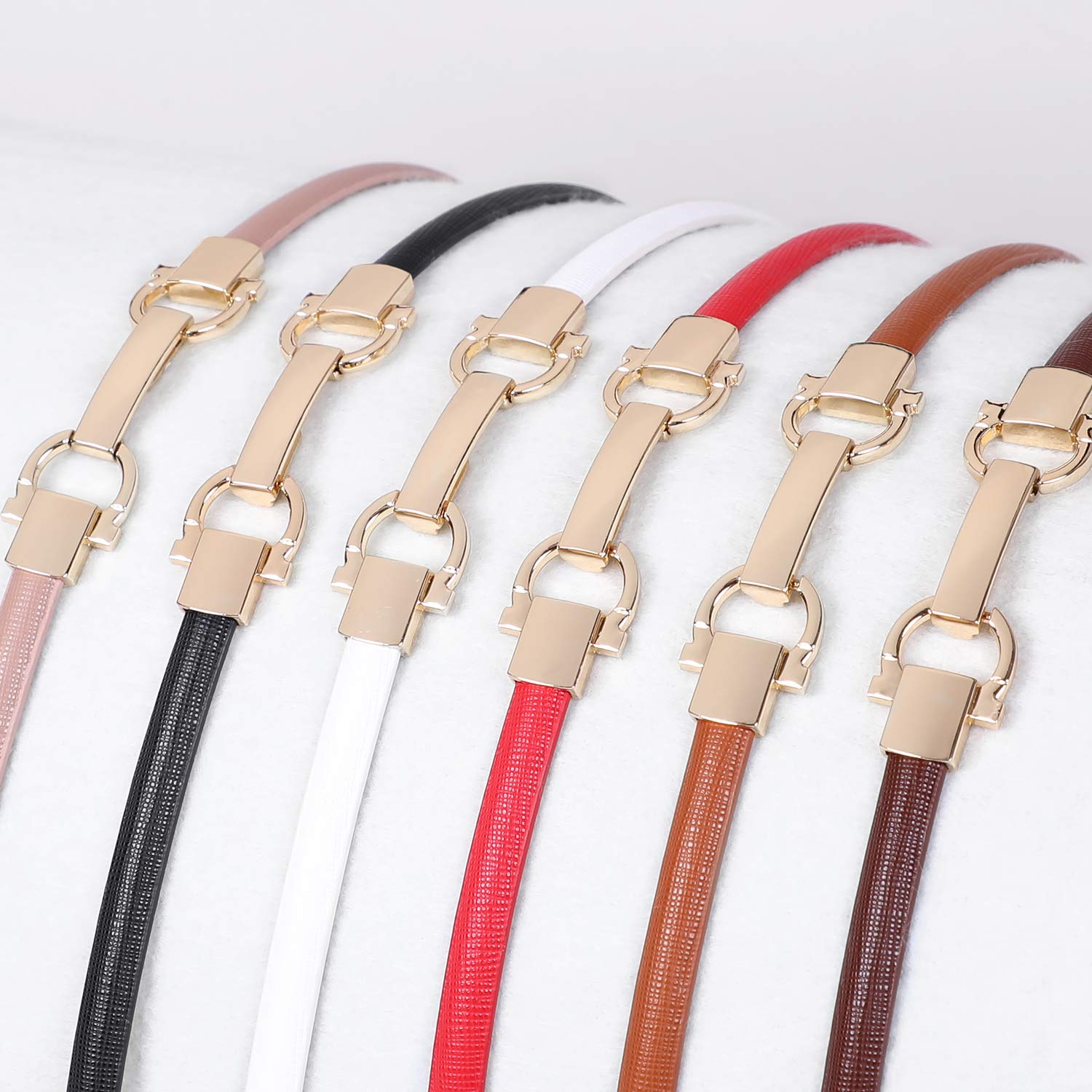 Women Skinny Leather Belt for Dress Adjustable Ladies Girls Thin Waist Belt with 6 Colors by WHIPPY