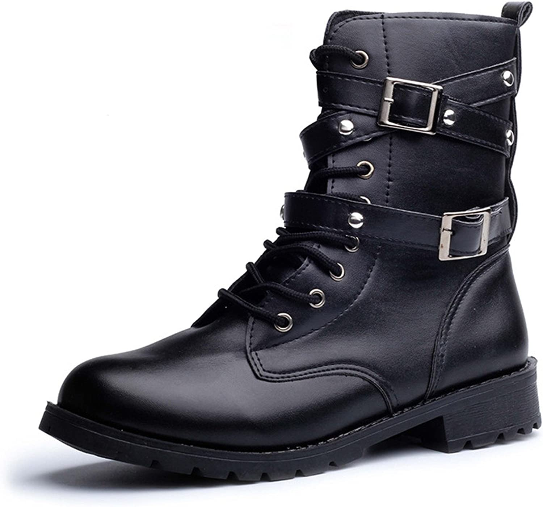 Desirca Women Motorcycle Boots Ladies Vintage Rivet Army Punk Goth Ankle Shoes Biker Leather Autumn Women Boots
