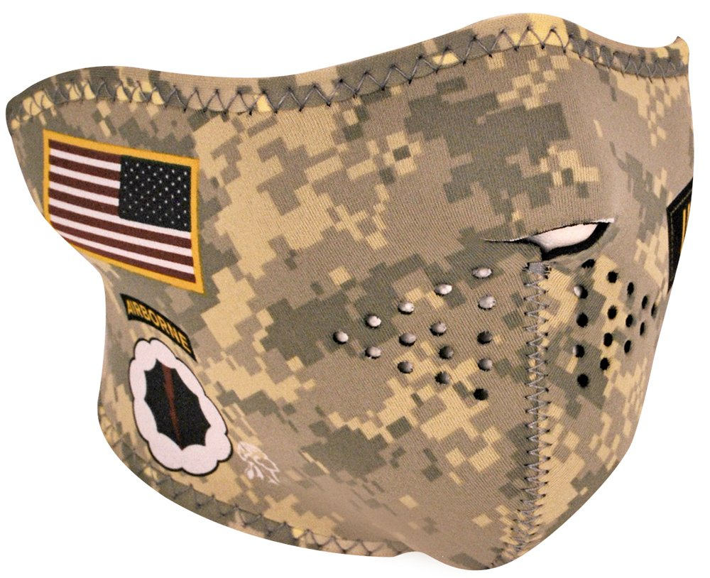 ZANheadgear Neoprene Half Face Mask, U.S. Army Digital Camo