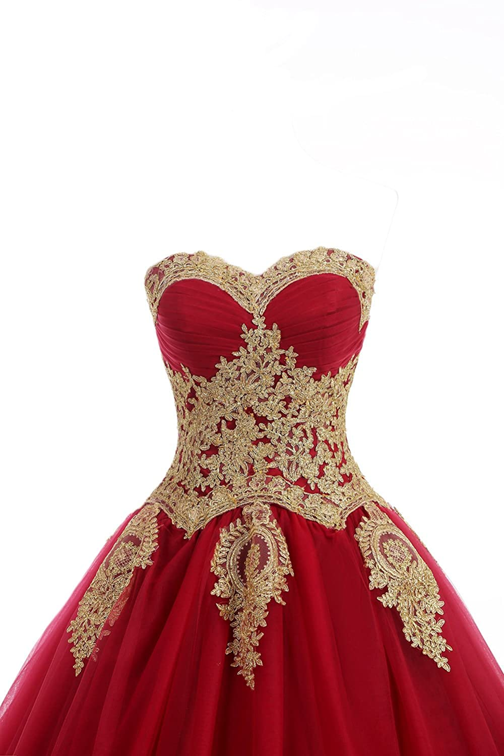 b072eeaf180 Amazon.com  LMBRIDAL Women s Appliqued Quinceanera Dress Sweetheart  Birthday Ball Gown Red 24W  Clothing