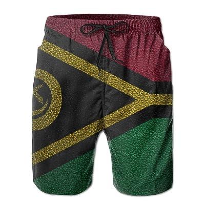 Flag of Leather Pattern Oceania VanuatuHandsome Fashion Summer Cool Shorts Swimming Trunks Beachwear Beach Shorts