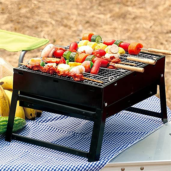 HomJo Barbacoa grill Parrilla de barbacoa de patio plegable al aire libre Jardín de picnic de camping portátil Horno de carbón de acero inoxidable parrillas ...