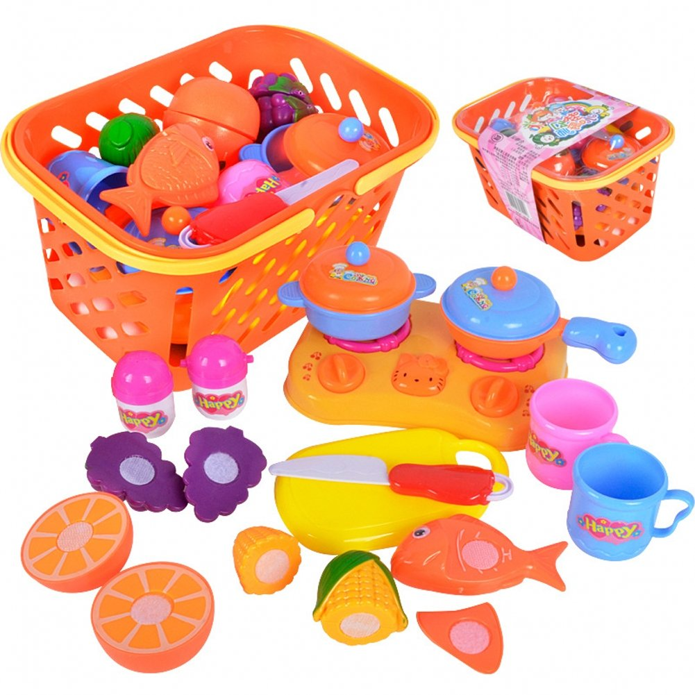 venxic Pretend Play Kitchen Cooking Food Cutting Toys inバスケット12ピース、3 + Ages   B077M9RNQL