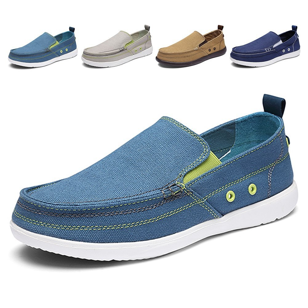 Men's Slip on Deck Shoes Loafers Canvas Boat Shoe Non Slip Casual Loafer Flat Outdoor Sneakers Walking (Denim Blue,43)