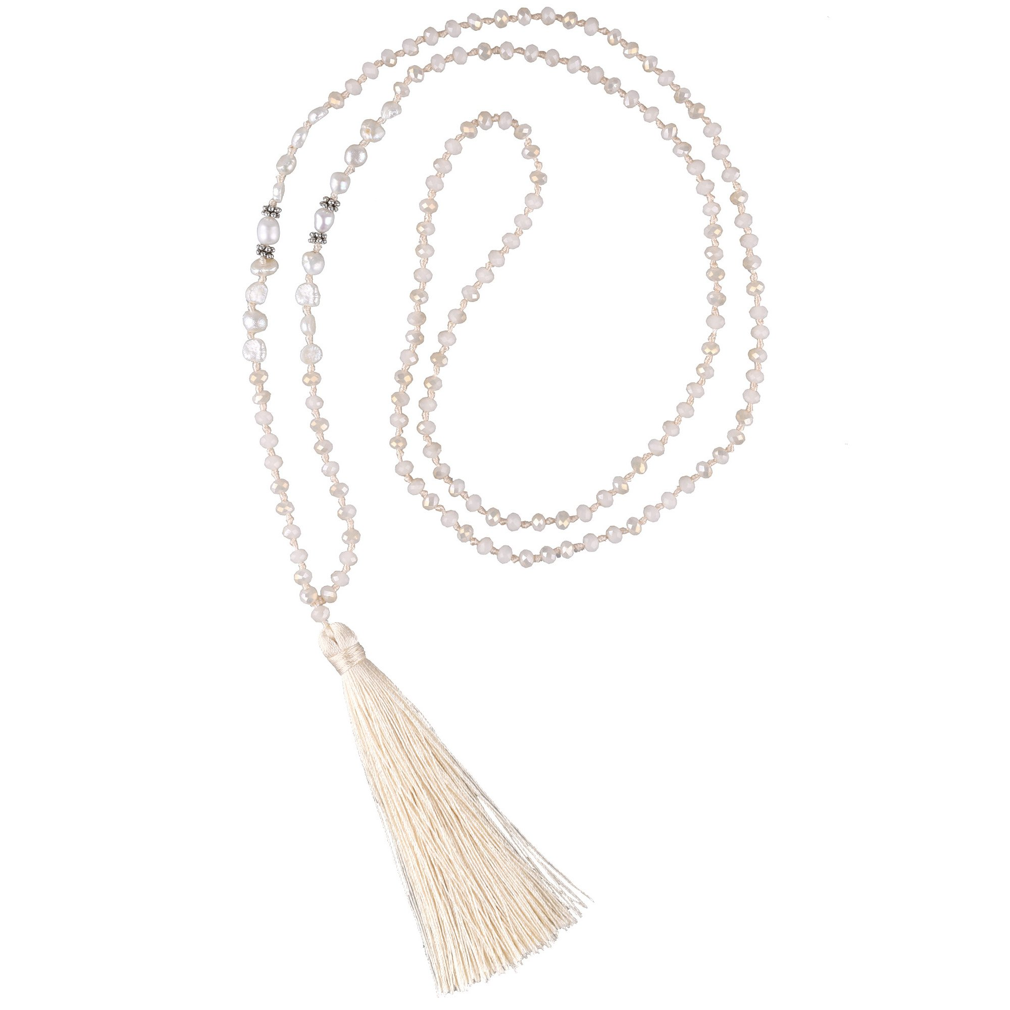 C·QUAN CHI Long Chain Pearl Tassel Necklace Handmade Crystal Beaded Pendant Bohemian Women Statement Jewelry for Women Gifts for Girls by C·QUAN CHI