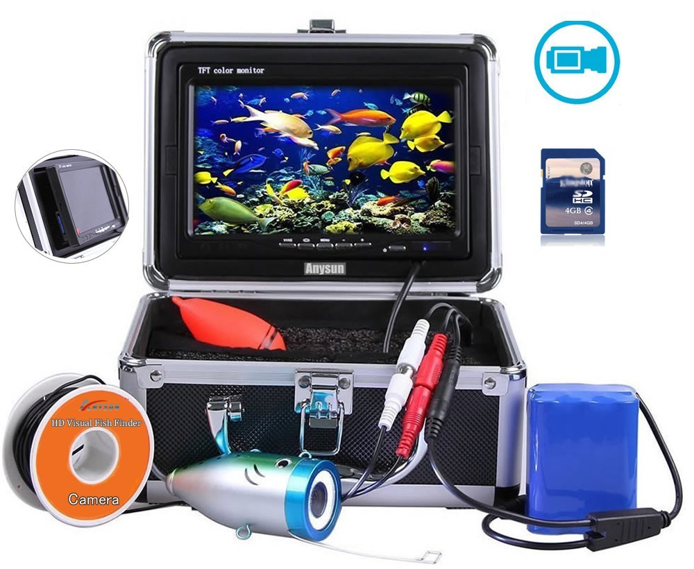 Anysun Underwater Fish Finder With Video Recorder DVR Function Professional Fishing Video Camera 7'' TFT Color LCD HD Monitor 1000tvl CCD 30M Cable Length. Easily Watch the Fish Bite