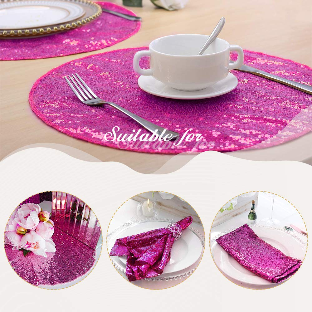 Fuchsia 15 Round B-COOL 90 x156  Rectangle pink gold Sequin Tablecloth Tablecloths for Wedding Thanksgiving Tablecloth Sparkle Tablecloth