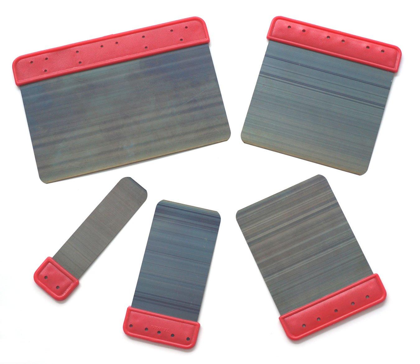 Set of Five Blued Steel Blade Spatulas Sizes: 6'', 4'', 3'', 2'', 1''